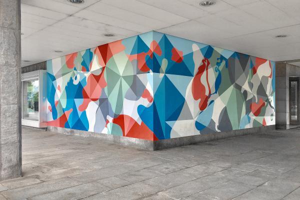 Wandmalerei, Auftrgasmalerei, sächsische Immobilienbank, Wandgestaltung, Flatlab; Kunst am Bau